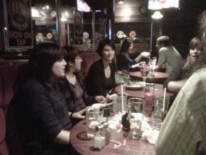 NCVA folks sharing a drink at the Clock Tower Brew Pub
