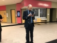 Dr. Greger gets ready for tomorrow in Winnipeg after everyone has gone home.